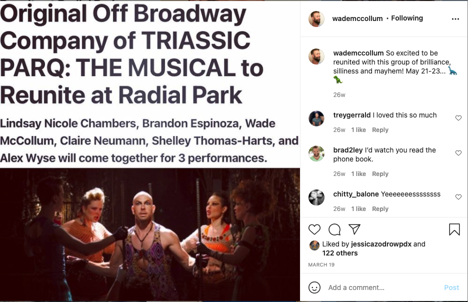 Wade McCollum's Instagram post announcing the reunion of the original off-broadway cast for Triassic Parq.